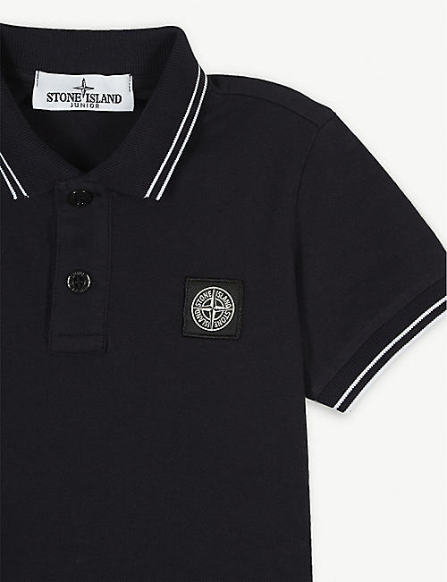 STONE ISLAND Logo-patch stretch-cotton polo top 4-14 years