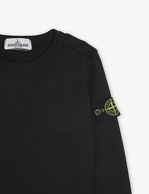 STONE ISLAND Classic patch logo cotton jumper 4-14 years