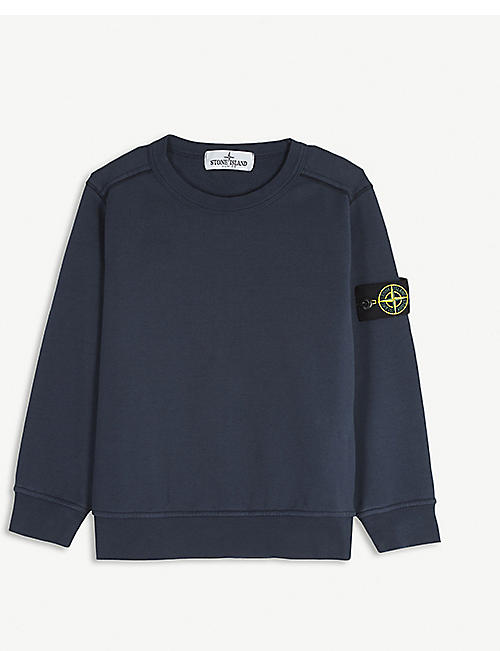 STONE ISLAND: Compass logo-patch cotton sweatshirt 4-14 years