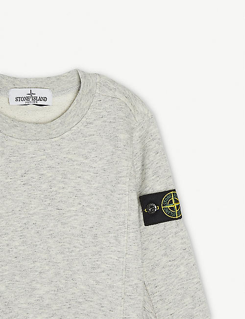 STONE ISLAND Compass logo marl cotton sweatshirt 4-14 years