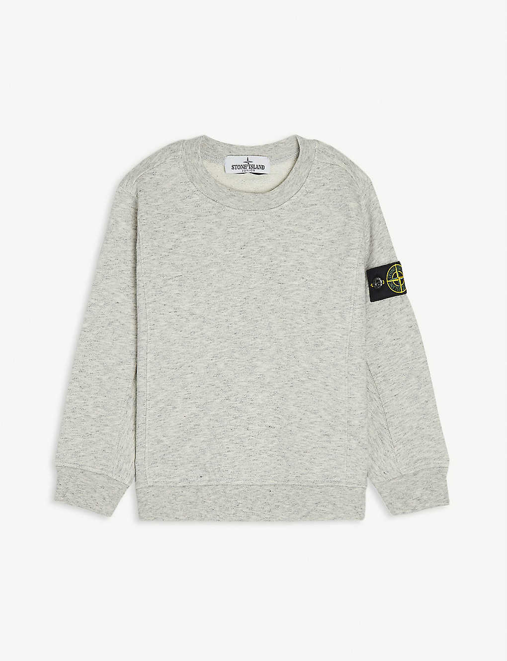 STONE ISLAND: Compass logo marl cotton sweatshirt 4-14 years