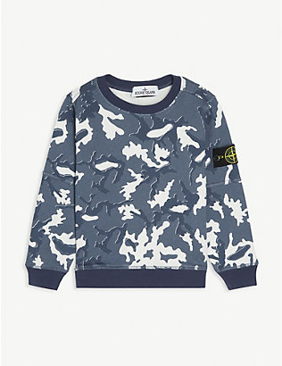 STONE ISLAND: Camouflage-printed cotton sweatshirt 4-14 years