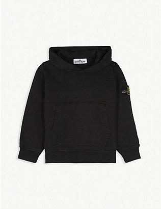 STONE ISLAND: Compass logo cotton hoody 4-14 years