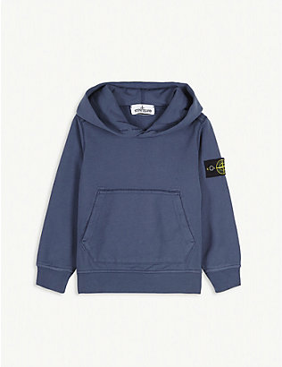 STONE ISLAND: Logo patch cotton hoody 2-14 years