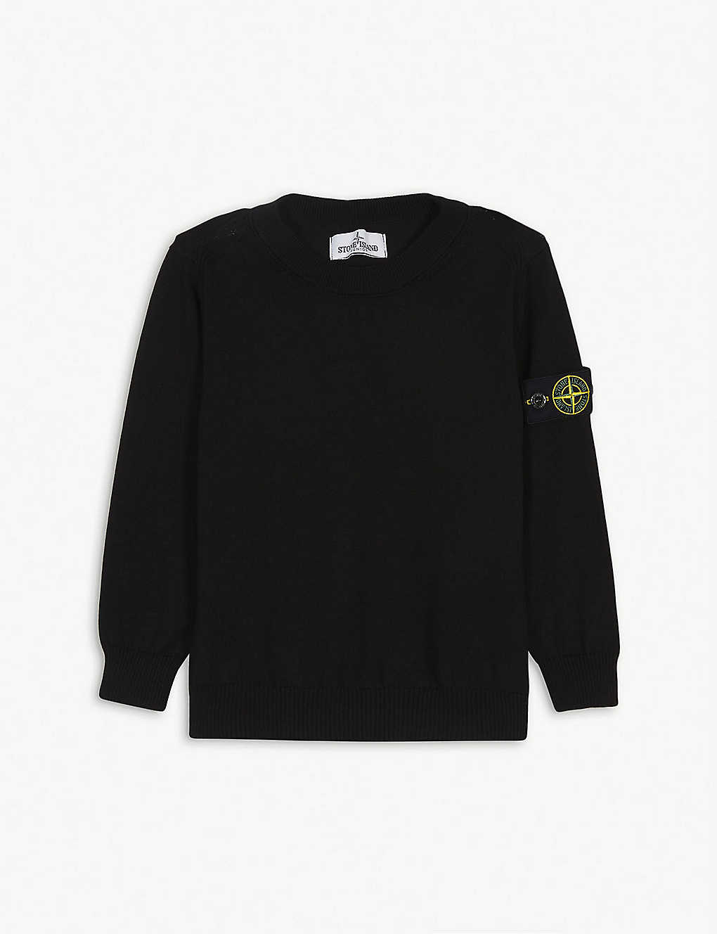 STONE ISLAND: Logo patch cotton jumper 4-14 years