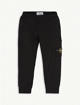 STONE ISLAND: Logo patch cotton-blend jogging bottoms 4-14 years
