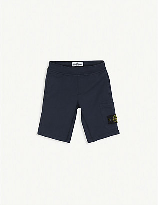 STONE ISLAND: Compass logo jersey cotton shorts 4-14 years