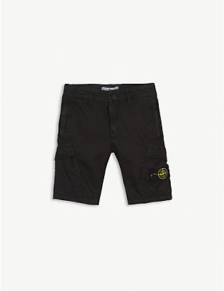 STONE ISLAND: Cotton cargo shorts 4-14 years