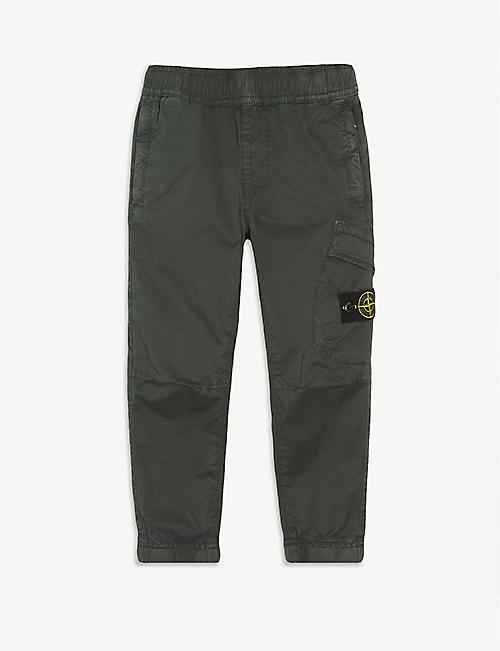 STONE ISLAND: Logo cotton-blend cargo trousers 4-14 years