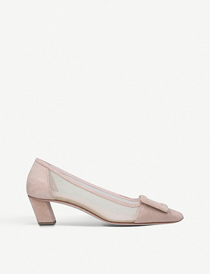 ROGER VIVIER Belle Vivier mesh and suede courts