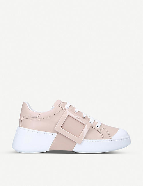 ROGER VIVIER: Viv Skate buckle-embellished leather trainers