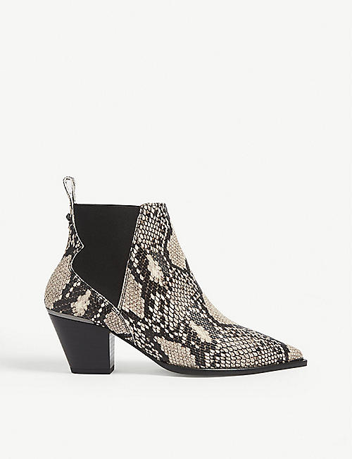 TED BAKER Rilans snake-embossed leather Western boots