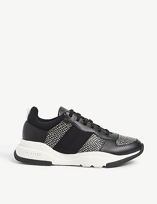 TED BAKER: Weverds snake-embossed leather trainers