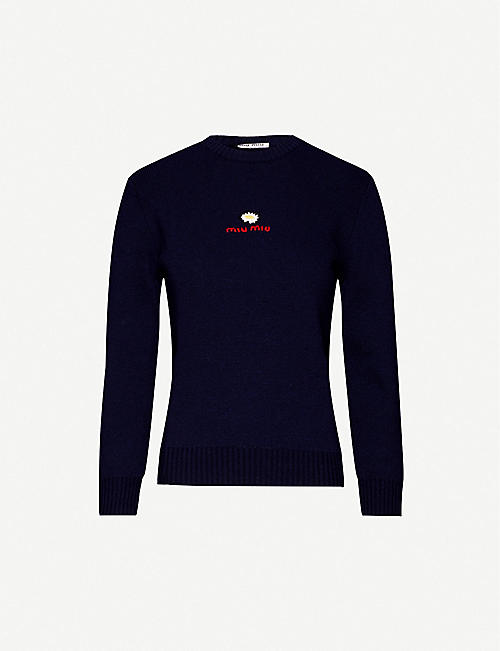 MIU MIU Embroidered wool jumper