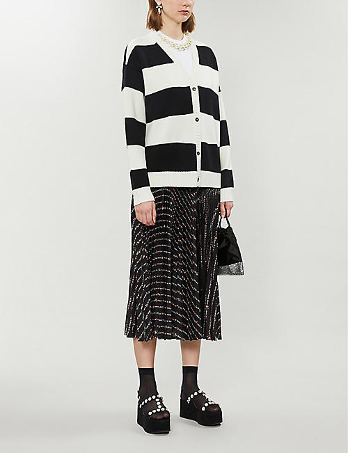 MIU MIU Striped graphic-embroidered wool cardigan