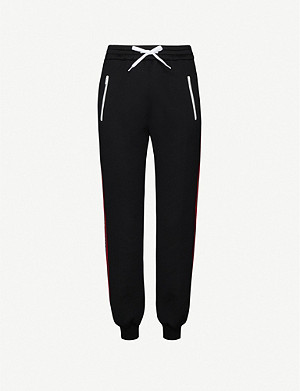 MIU MIU Logo-tape tapered high-rise cotton-blend jersey jogging bottoms