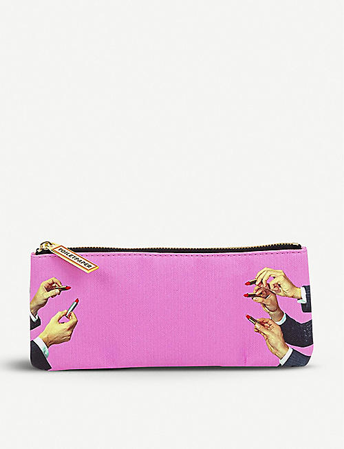 SELETTI: Seletti wears Toiletpaper lipstick-print faux-leather pencil case