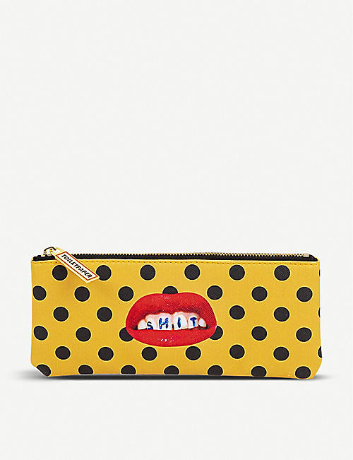 SELETTI: Seletti wears Toiletpaper Sh*t-print faux-leather pencil case