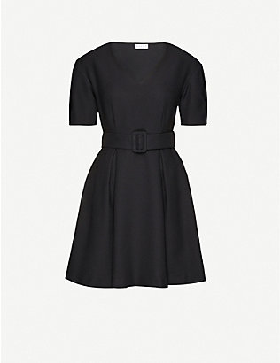 CLAUDIE PIERLOT: Belted V-neck crepe mini dress