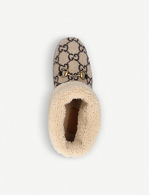 GUCCI Fria logo-pattern merino-wool ankle boots