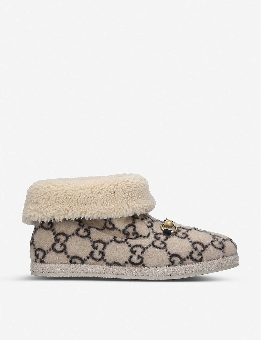 GUCCI: Fria logo-pattern merino-wool ankle boots