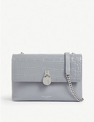TED BAKER: Macciie croc-embossed shoulder bag