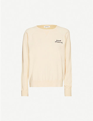 LOVE STORIES: Jerry logo-embroidered cotton-blend sweatshirt