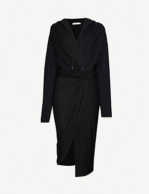 FENTY Ruched hooded stretch-jersey and stretch-crepe midi dress