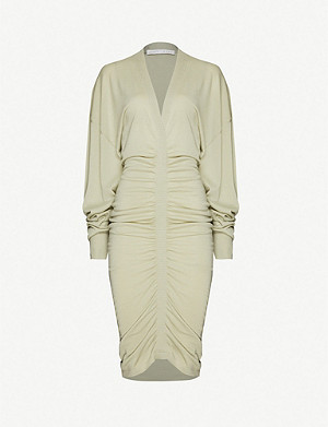 FENTY Ruched dropped-shoulder wool midi dress