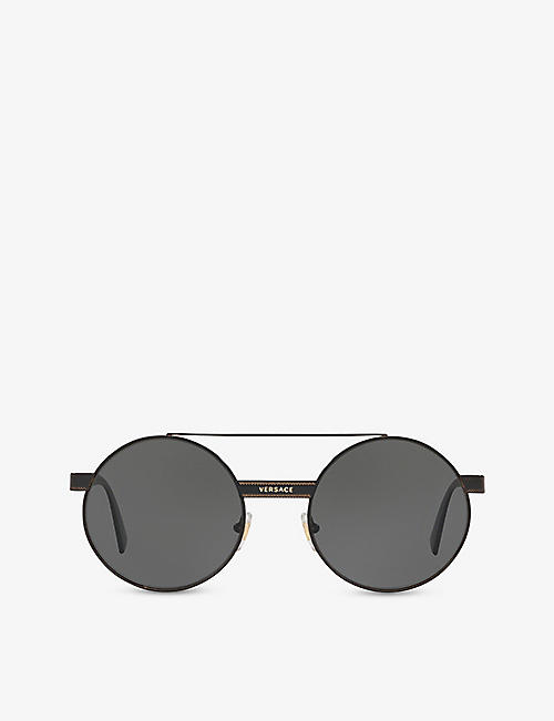 VERSACE: VE2210 round metal sunglasses