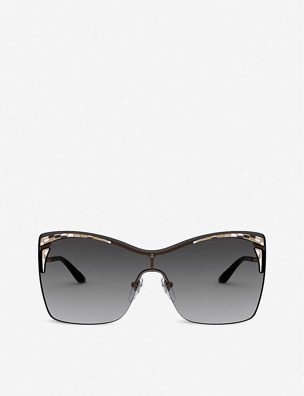 BVLGARI: BV6138 Serpenti metal acetate rectangle-frame sunglasses