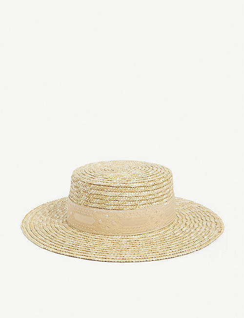 LACK OF COLOR: Spencer boater hat