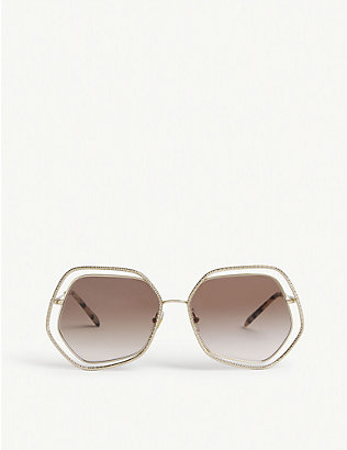 MIU MIU: MU 58VS 60 metal irregular-frame sunglasses