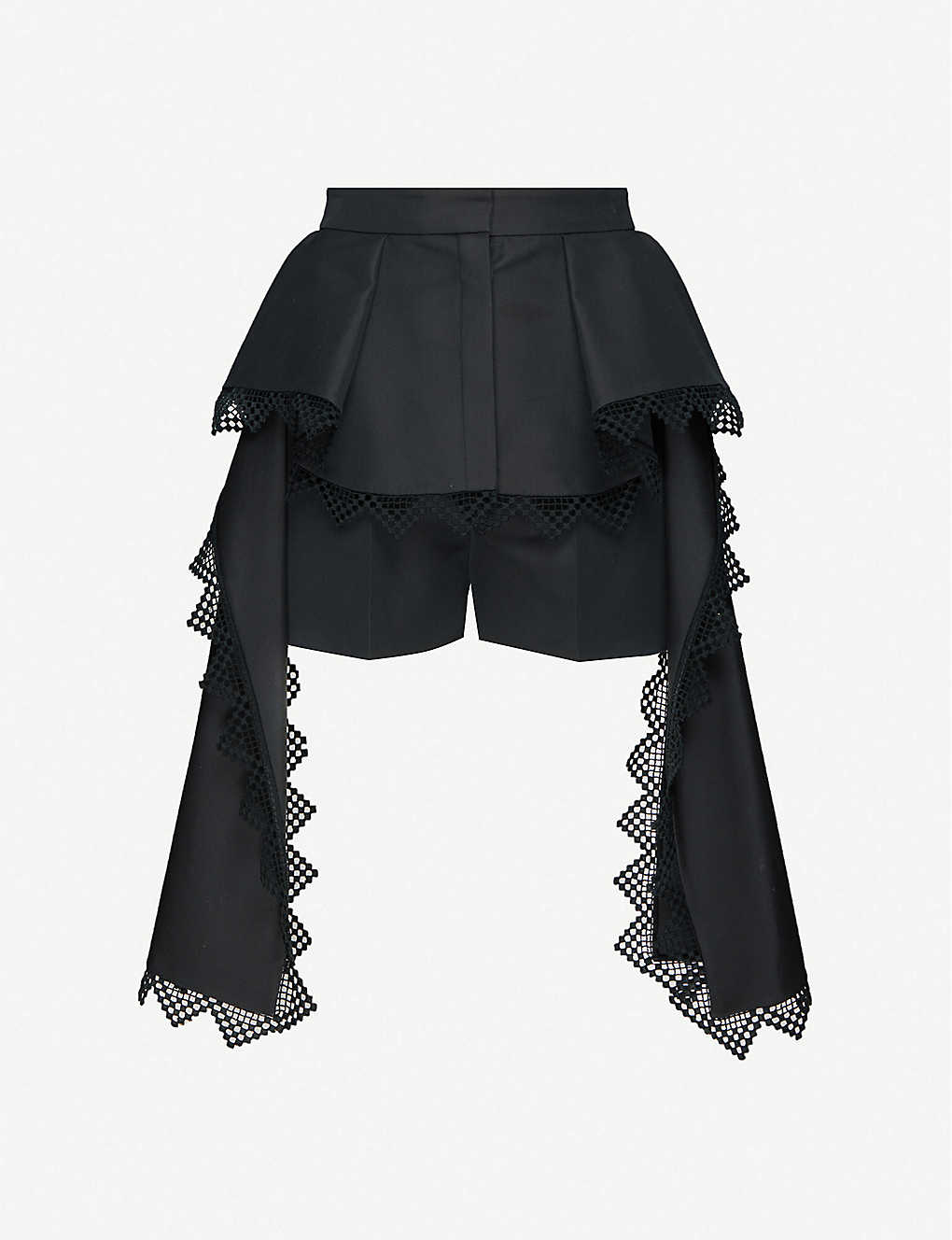 ALEXANDER MCQUEEN: Lace-trimmed draped cotton and silk-blend shorts
