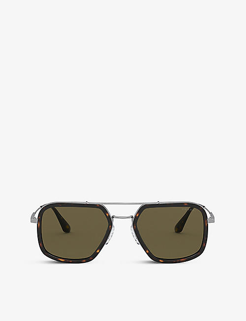 PRADA: PR 57XS square-frame acetate and metal sunglasses
