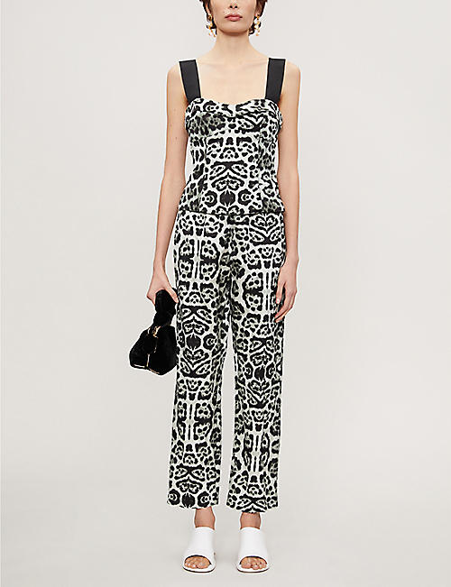 DRIES VAN NOTEN Leopard-print straight-leg high-rise woven trousers