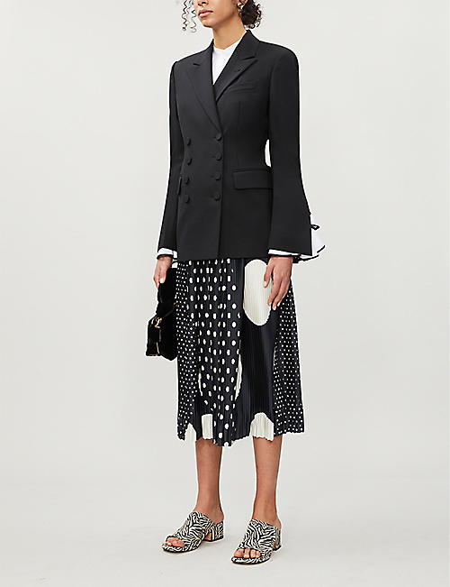 DRIES VAN NOTEN Polka dot pleated satin midi skirt