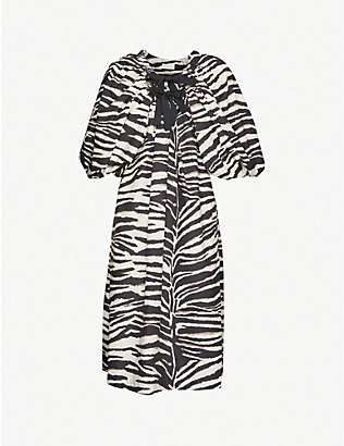 DRIES VAN NOTEN: Zebra-print cotton midi dress