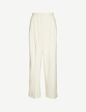 DRIES VAN NOTEN Tapered high-rise cotton trousers