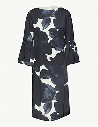 DRIES VAN NOTEN: Floral-print satin midi dress