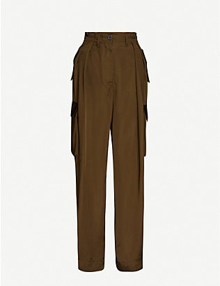 DRIES VAN NOTEN: Tapered high-rise satin trousers