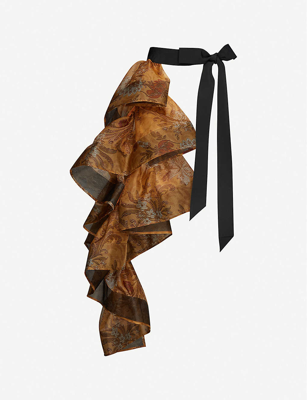 DRIES VAN NOTEN: Printed ruffled silk midi skirt