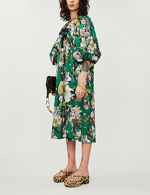 DRIES VAN NOTEN Floral-print cotton mini dress