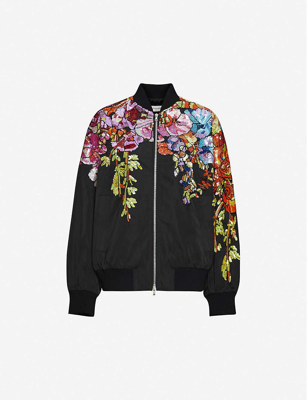 DRIES VAN NOTEN: Floral sequin-embellished shell bomber jacket