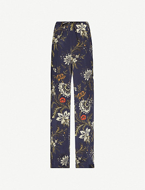 DRIES VAN NOTEN Floral-print wide-leg high-rise silk trousers