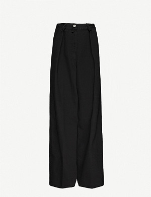 DRIES VAN NOTEN Pleated wide-leg high-rise jeans
