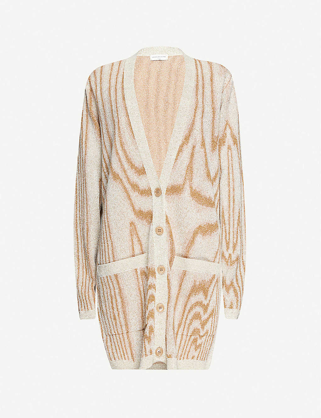 DRIES VAN NOTEN: Tiger-pattern V-neck metallic-knit cardigan