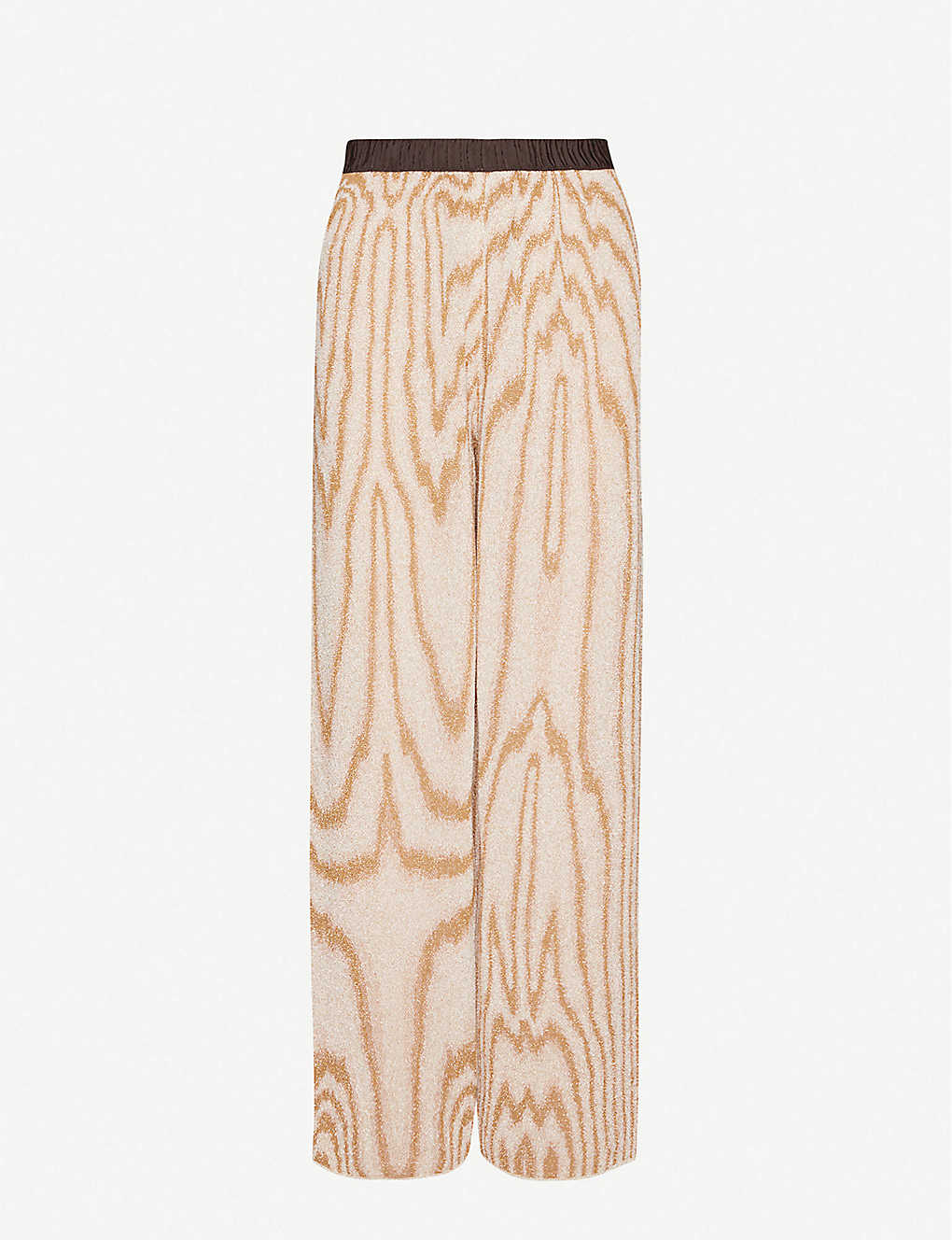 DRIES VAN NOTEN: Graphic-print straight high-rise metallic-knit trousers