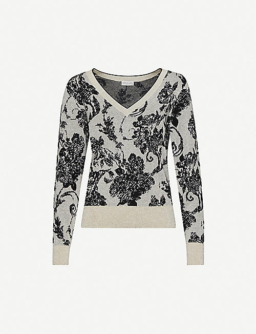 DRIES VAN NOTEN Floral-pattern V-neck wool-blend jumper