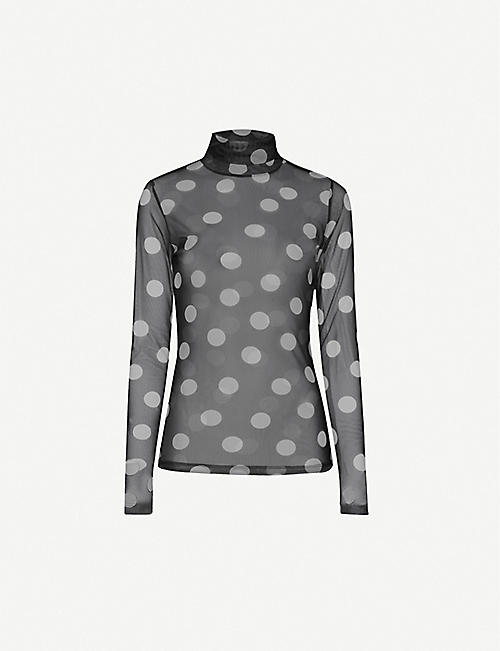 DRIES VAN NOTEN Polka dot turtleneck stretch-mesh top